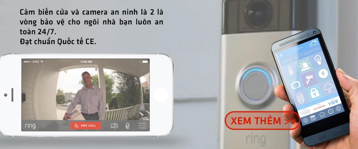 Cảm biến cửa và camera an ninh